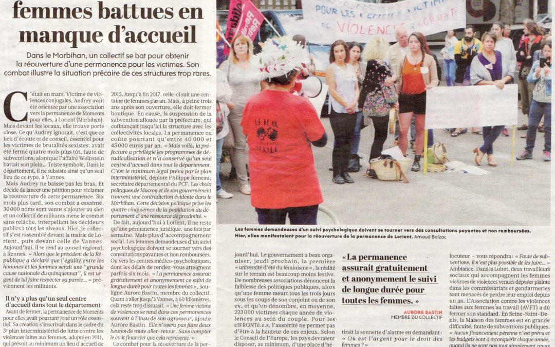 Communiqué du Collectif de Lorient : Pour la réouverture d'un lieu d'accueil pour les femmes victimes de violences à Lorient