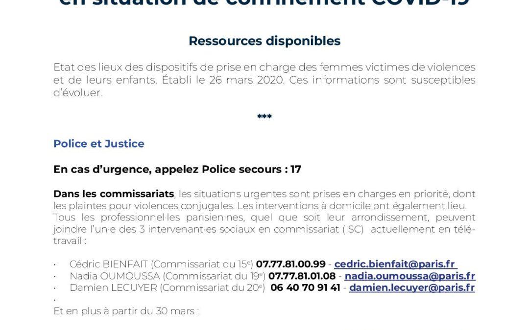 Paris – confinement : Ressources pour les femmes victimes de violences