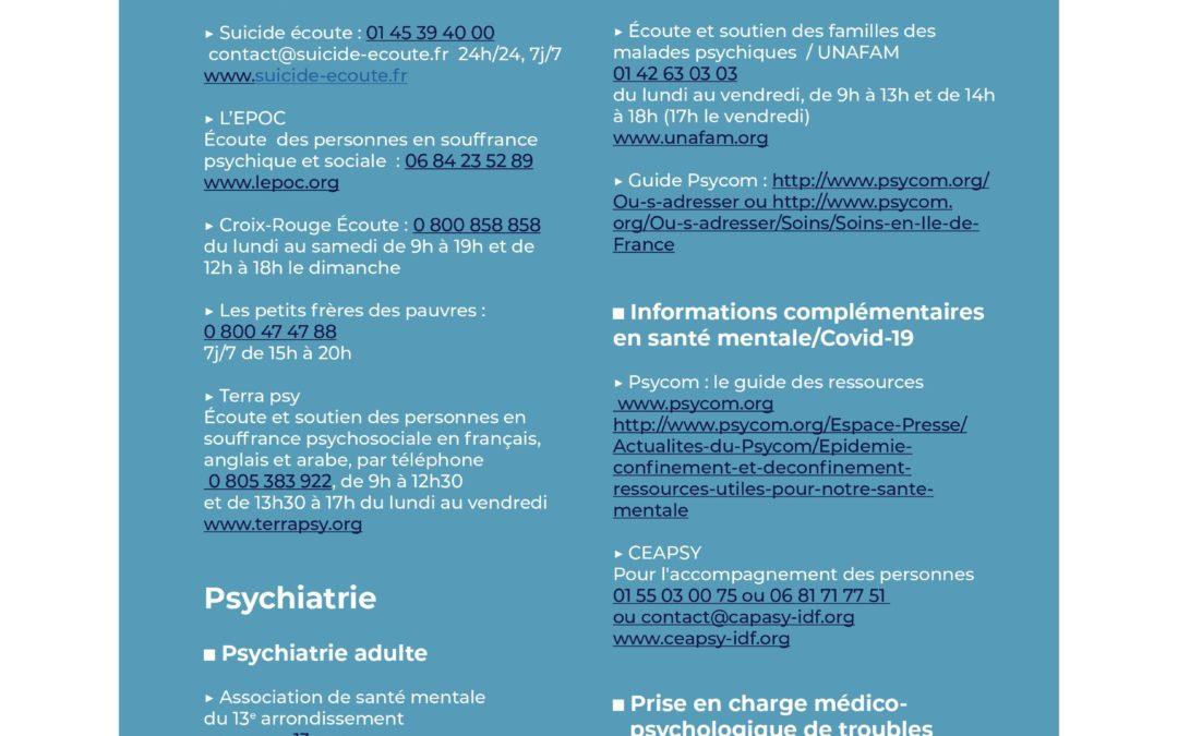 Ile de France : Structures d'écoute et de soutien psychologique et de soins psychiatriques