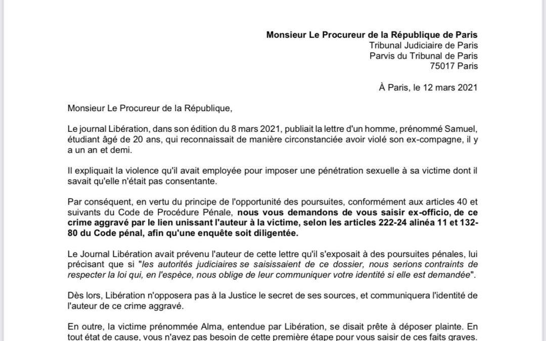 Lettre de Lola Laffont suite à la Une de Libération et la lettre du violeur